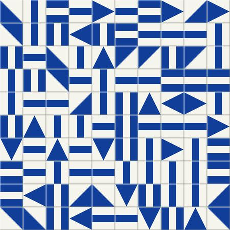 bauhaus: Seamless tiles with geometric shapes in shades of blue. Backgrounds in style supremus, avant-garde.