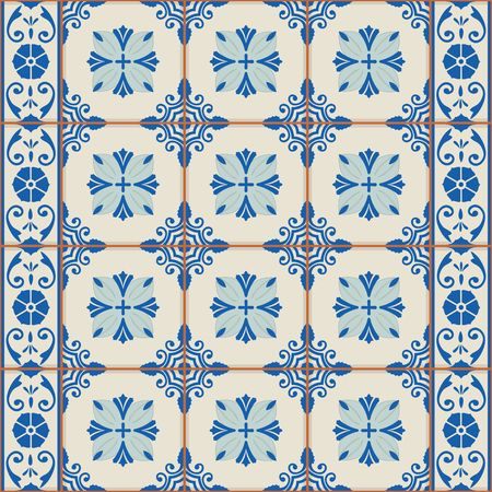 a tile: Vintage seamless  pattern from grunge Moroccan, Portuguese, Azulejo tiles and border, retro ornaments. Illustration