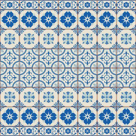 Uitstekend naadloos patroon van grunge Marokkaans, Portugees, Azulejo tegels en grens, retro ornamenten.