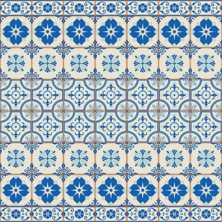 Vintage seamless pattern from grunge Moroccan, Portuguese, Azulejo tiles and border, retro ornaments.