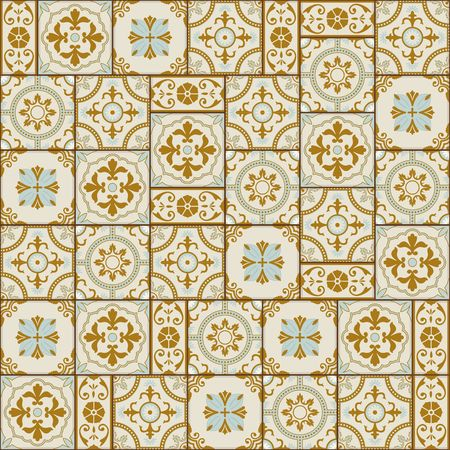 azulejo: Stylish seamless pattern patchwork mix of  Vintage  from  Moroccan, Portuguese, Azulejo tiles , retro ornaments.