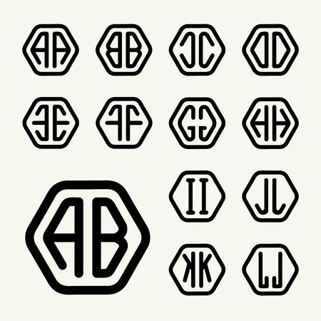 inscribed: Set 1 template letters to create monograms of two letters inscribed in a hexagon in modern style
