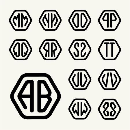 inscribed: Set 2 template letters to create monograms of two letters inscribed in a hexagon in modern style