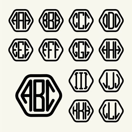 Set 1 Template Letters To Create A Monogram Of Three Letters ...