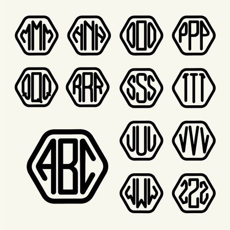 inscribed: Set 2 template letters to create a monogram of three letters inscribed in a hexagon in modern style