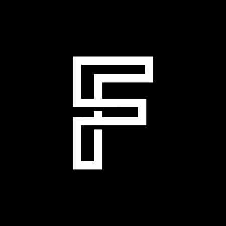 Capital letter F. From the white interwoven strips on a black background. Template for emblem, logos and monograms.