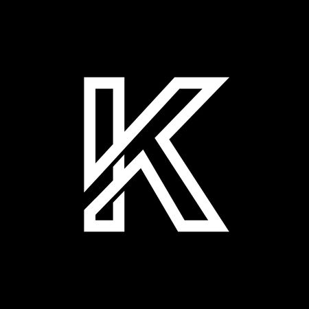 Capital letter K. From the white interwoven strips on a black background. Template for emblem, logos and monograms.