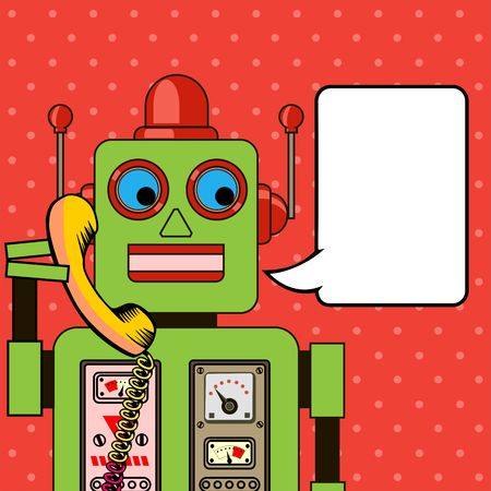 talking robot: Cool Robot talking on the phone. Pop art poster.