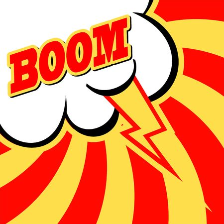 kapow: Vintage, cracked background. Pop art, comic style. Cloud with ray and BOOM wording sound effect .