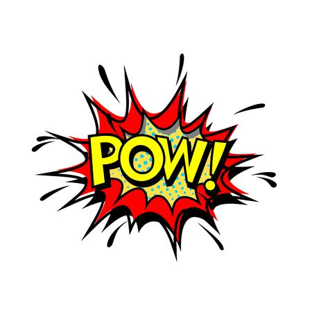 Pow. Pop Art, Comic Book Style. Vector Illustration
