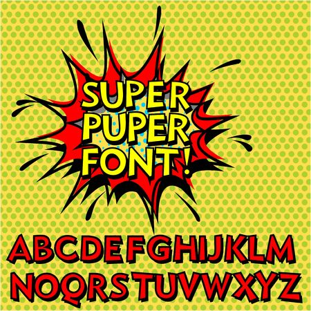 comic book character: Cool Pop Art Font, Alphabet. Comic Book Style. Illustration