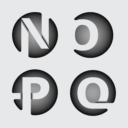 Capital letter N, O, P, Q. Made of wide white stripes Overlapping with shadows. , monogram, emblem trendy design. Ilustração