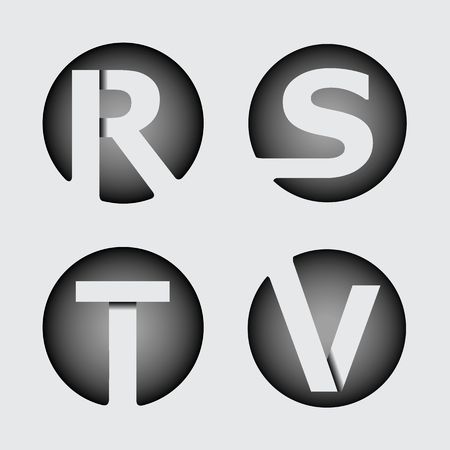 overlapping: Capital letter R, S, T, V. Made of wide white stripes Overlapping with shadows. , monogram, emblem trendy design.