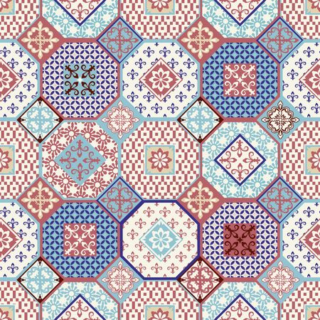 Stylish seamless pattern patchwork mix of Vintage from Moroccan, Portuguese, Azulejo tiles , retro ornaments. Template for interior design in trendy shades .