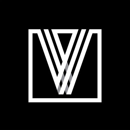 v shape: V capital letter made of of three white stripes enclosed in a square. . Overlapping with shadows monogram, , emblem. Trendy design.