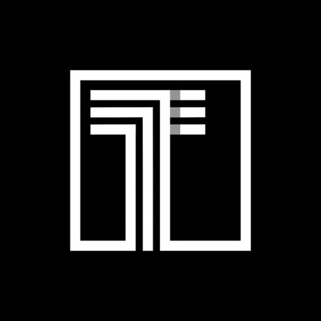 t square: T capital letter made of of three white stripes enclosed in a square. . Overlapping with shadows monogram, , emblem. Trendy design.