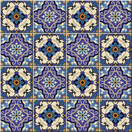 azulejo: Gorgeous seamless pattern from colorful floral Moroccan, Portuguese tiles, Azulejo, ornaments. Can be used for wallpaper, pattern fills, web page background,surface textures.