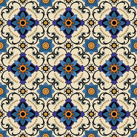 antique wallpaper: Vector seamless pattern. Colorful ethnic ornament. Arabesque style. Islamic art.