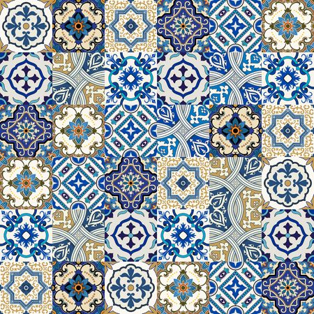 Mega Gorgeous seamless patchwork pattern from colorful Moroccan, Portuguese tiles, Azulejo, ornaments.. Can be used for wallpaper, pattern fills, web page background,surface textures. 版權商用圖片 - 61753127