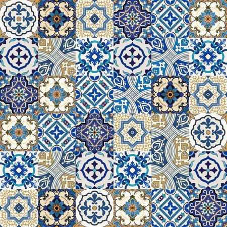 Mega superbe motif de patchwork coloré sans soudure à partir du Maroc, carreaux portugais, Azulejo, ornements .. Peut être utilisé pour le papier peint, motifs de remplissage, fond de page web, des textures de surface.