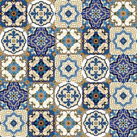 Mega Herrliche nahtlose Patchwork-Muster aus bunten marokkanischen, portugiesischen Kacheln, Azulejo, Verzierungen .. kann für Tapeten, Muster füllt, Web-Seite Hintergrund, Oberflächenstrukturen.