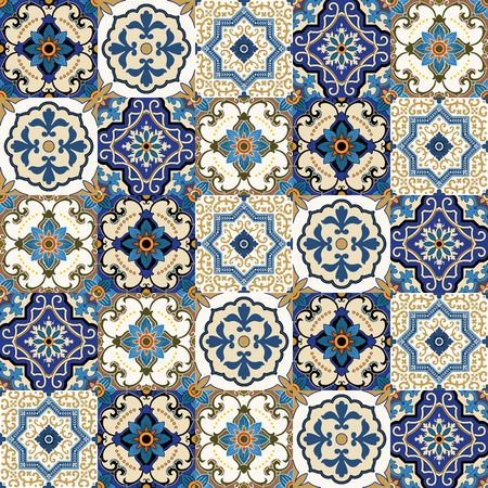 Mega Gorgeous seamless patchwork pattern from colorful Moroccan, Portuguese tiles, Azulejo, ornaments.. Can be used for wallpaper, pattern fills, web page background,surface textures.
