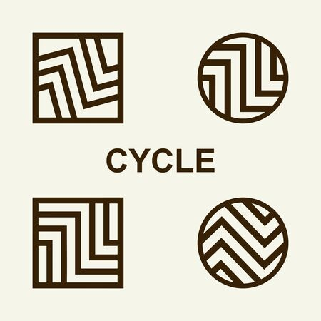 Modern set template monogram, emblem, logo. Symbol of stripes and arrows symbolizing the development, cyclicity, stability. Illustration