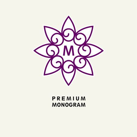 art therapy: Flower Template for logo, emblem. Illustration