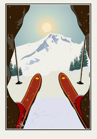 Vintage vector illustration. Skier getting ready to descend the mountain. Winter background. Grunge effect it can be removed. Stock Illustratie