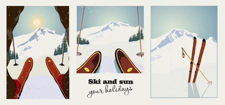 Set of winter ski vintage posters. Skier getting ready to descend the mountain. Winter background. Grunge effect it can be removed.
