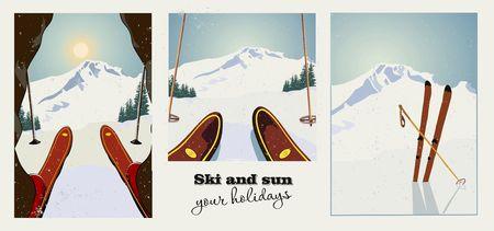 冬スキー ビンテージ ポスターのセットです。スキーヤーは、準備をして山を下りる。冬の背景。グランジ効果は削除することができます。  イラスト・ベクター素材