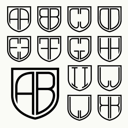 special individual: Set 1 of template letters inscribed in the shield for the creation of logos, monograms, emblem