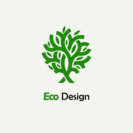 plant tree: Abstract green tree. Template for creating logos, emblems, monograms.. Plant, nature and ecology
