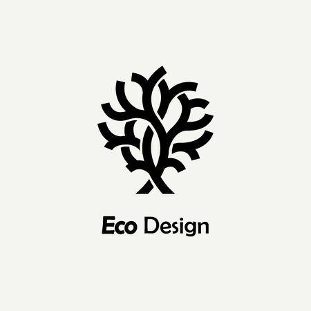abstract logos: Abstract monochrome tree. Template for creating logos, emblems, monograms.. Plant, nature and ecology
