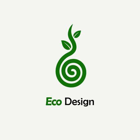 Symbolische Spross Baum Spirale. Vorlage für Logos, Embleme, Monogramme zu schaffen. Pflanze, Natur und Ökologie