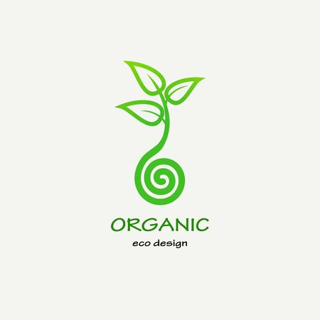 Symbolic sprout tree spiral. Template for creating logos, emblems, monograms. Plant, nature and ecology Illustration
