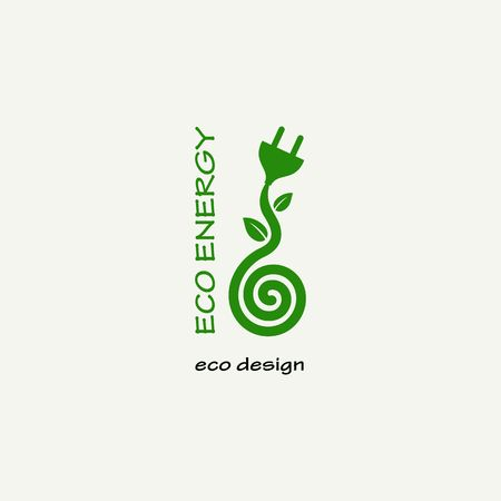 eco energy: Eco Energy. Symbolic sprout plant spiral and plug. Template for creating logos, emblems, monograms.