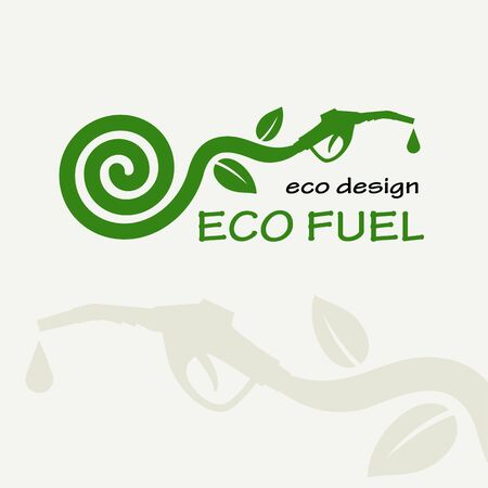 refueling: ECO FUEL. Symbolic sprout plant spiral and refueling nozzle. Template for creating logos, emblems, monograms.