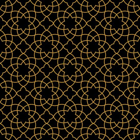 Gorgeous Seamless Arabic Pattern Design. Monochrome Gold Wallpaper or Background.  イラスト・ベクター素材