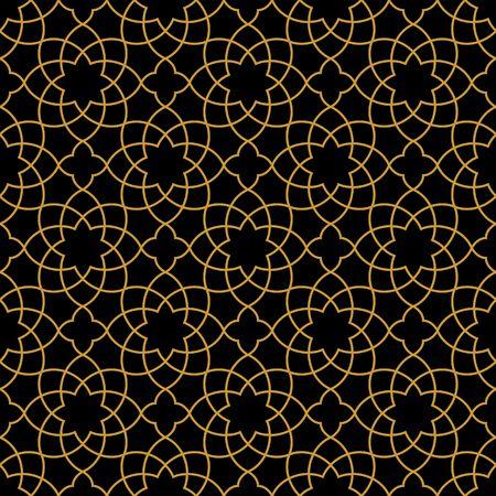 Przepięknych bez szwu arabski wzór wzoru. Monochromatyczny Złoty Tapeta lub Tło. Ilustracje wektorowe
