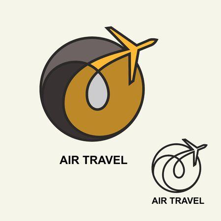 air travel: Aviation emblem template, air travel.