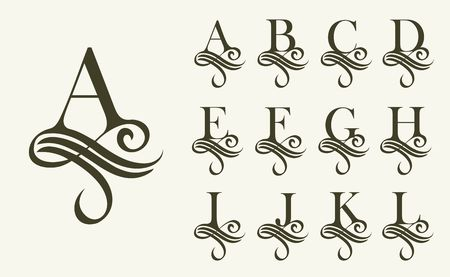 Vintage Set1 . Capital Letter for Monograms and Logos. Beautiful Filigree Font. Victorian Style. Фото со стока - 68214528