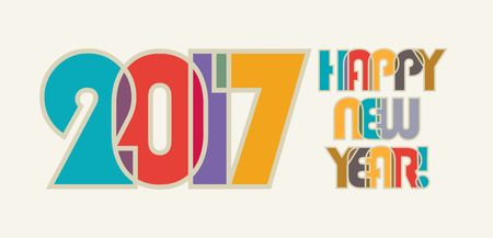 color of year: 2017, HAPPY NEW YEAR ! Cheerful and beautiful inscription of color overlapping letters.