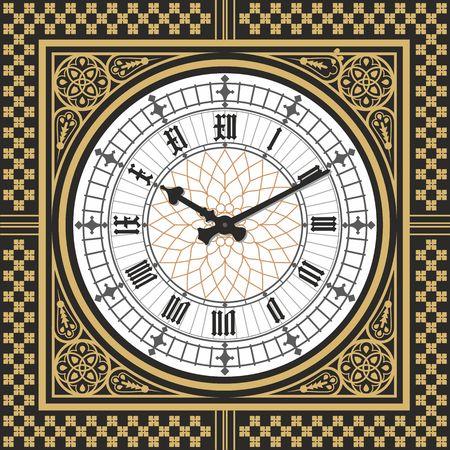 Marca el reloj victoriano al estilo de Big Ben. Plantilla editable Vector Foto de archivo - 66494575