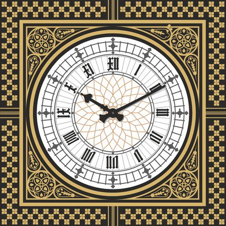 Dial Victorian clock in the style of Big Ben. Vector editable template