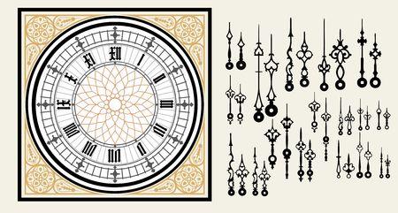 ビクトリア朝様式の設定手でビンテージ時計のダイヤル。ベクトルの編集可能なテンプレート