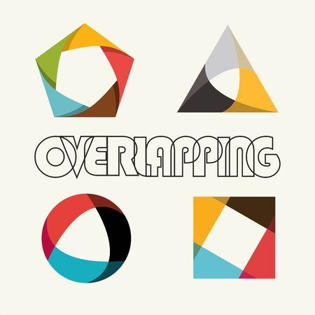 forme geometrique: Forme abstraite multicolore chevauchement polygone géométrique Illustration