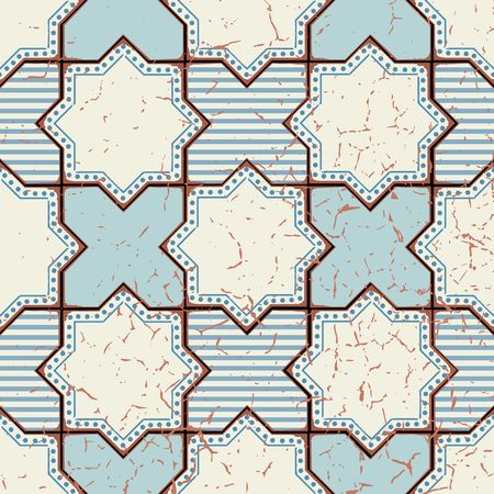old square: Vector Oriental seamless pattern. Realistic Vintage Moroccan, Portuguese octagonal tiles. Effect of decorative aging can be removed