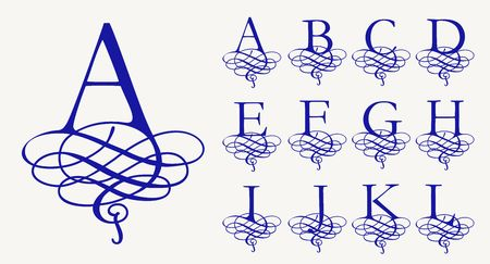 Vintage Set 1. Calligraphic capital letters with curls for Monograms and Logos. Beautiful Filigree Font. Baroque style.