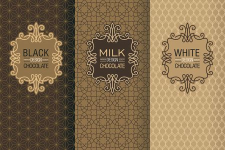 Elegant set of design elements, labels, icon, frames, seamless backgrounds for packaging in trendy linear style for chocolate and cocoa package -white, milk and dark chocolate Vectores
